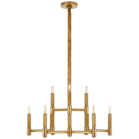 Barrett Medium Knurled Chandelier in Natural Brass
