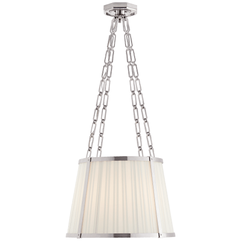 Windsor Medium Hanging Shade in Polished Nickel with Boxpleat Silk Shade