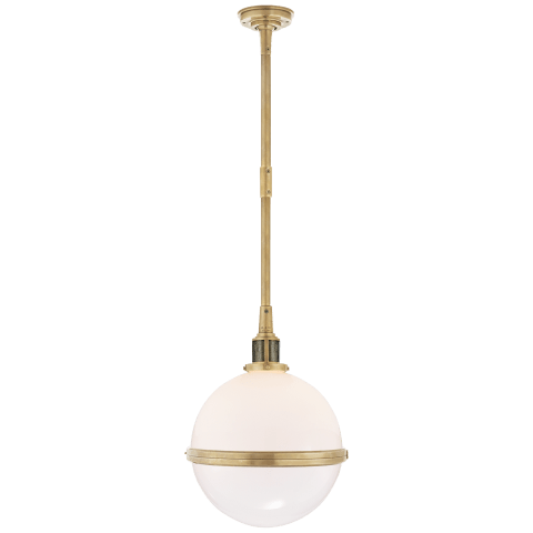 McCarren Large Globe Pendant in Natural Brass with White Glass
