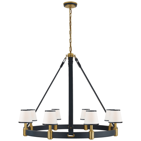 Riley Large Ring Chandelier in Natural Brass and Navy Leather with Leather Trimmed Linen Shades