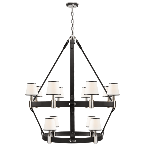 Riley Large Two Tier Chandelier in Nickel and Chocolate Leather with Leather Trimmed Linen Shades