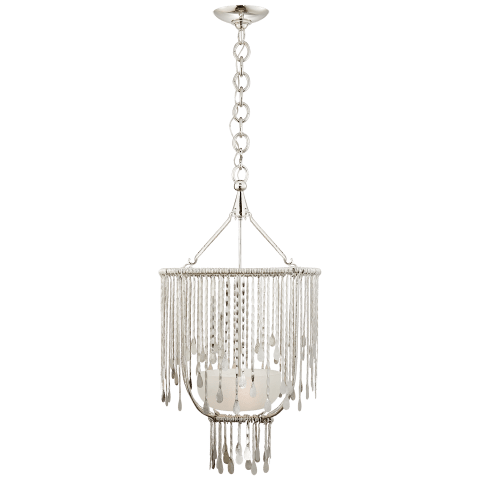 Kayla Small Sculpted Chandelier in Polished Nickel with Alabaster