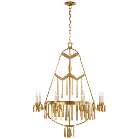Natalie Large Chandelier in Natural Brass
