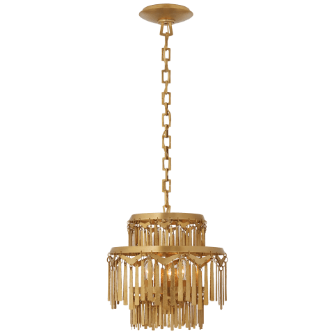 Natalie Small Tiered Chandelier in Natural Brass