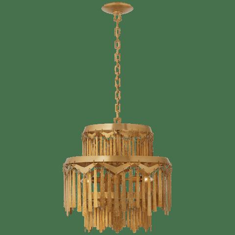 Natalie Medium Tiered Chandelier in Natural Brass