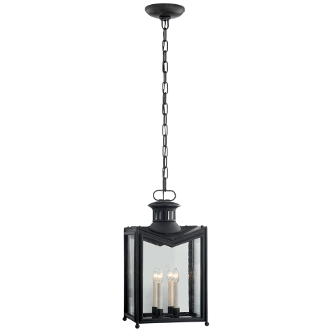 Mills Medium Hanging Lantern in Aged Iron with Restoration Glass