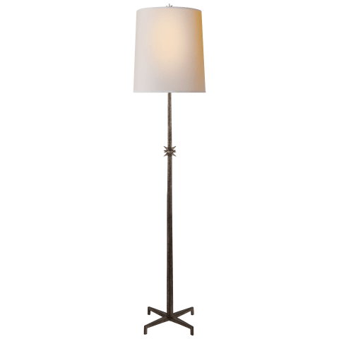 Etoile Large Floor Lamp in Aged Iron with Natural Paper Shade