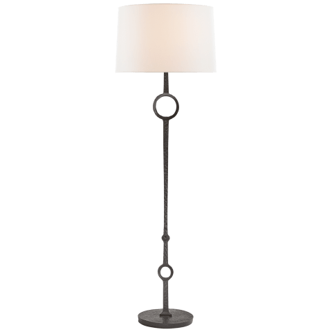 Talisman Large Floor Lamp in Aged Iron with Linen Shade