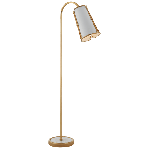 Hastings Medium Floor Lamp in Hand-Rubbed Antique Brass with White Shade