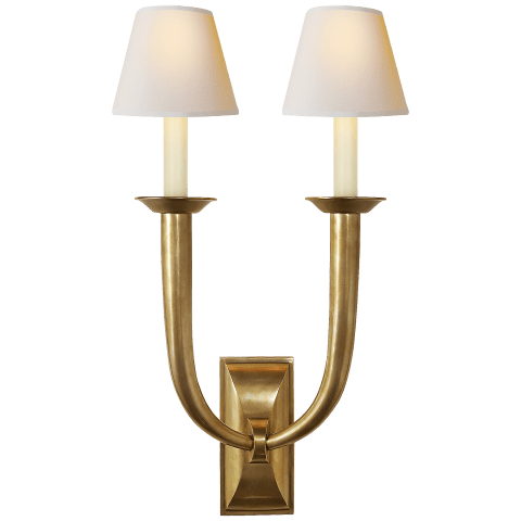French Deco Horn Double Sconce in Hand-Rubbed Antique Brass with Natural Paper Shades