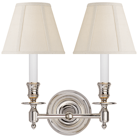 French Double Sconce in Polished Nickel with Linen Shades
