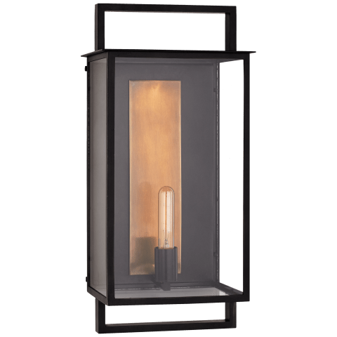 Halle Large Wall Lantern in Aged Iron and Clear Glass