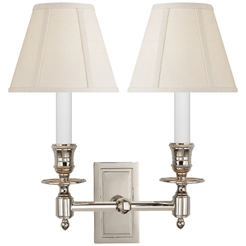 French Double Library Sconce in Polished Nickel with Linen Shades