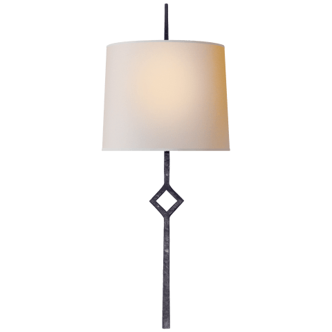 Cranston Small Sconce in Aged Iron with Natural Paper Shade