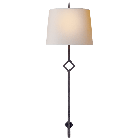 Cranston Large Sconce in Aged Iron with Natural Paper Shade