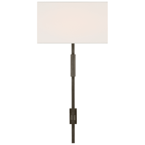 Auray Large Tail Sconce in Bronze with Linen Shade