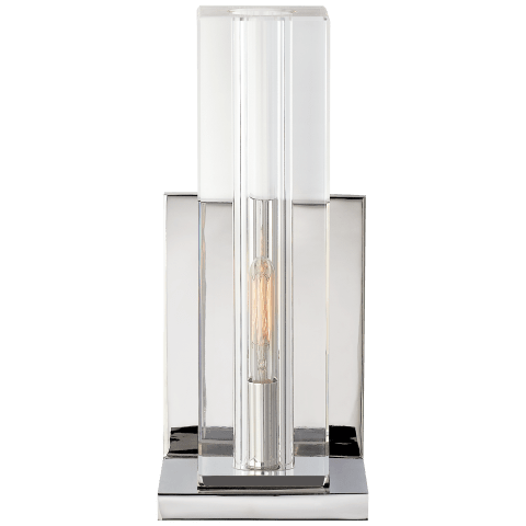 Ambar Tall Wall Light in Crystal and Polished Nickel