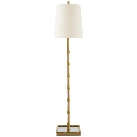 Grenol Buffet Lamp in Hand-Rubbed Antique Brass with Natural Percale Shade
