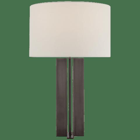 Rune Medium Table Lamp in Bronze with Linen Shade
