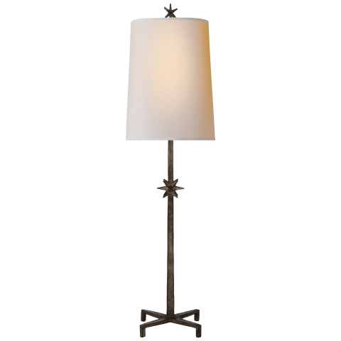 Etoile Large Table Lamp in Aged Iron with Natural Paper Shade