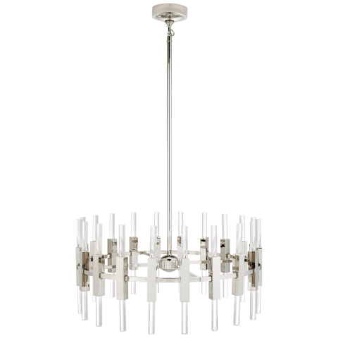 Palomar Small Rotating Chandelier in Polished Nickel with Clear Acrylic