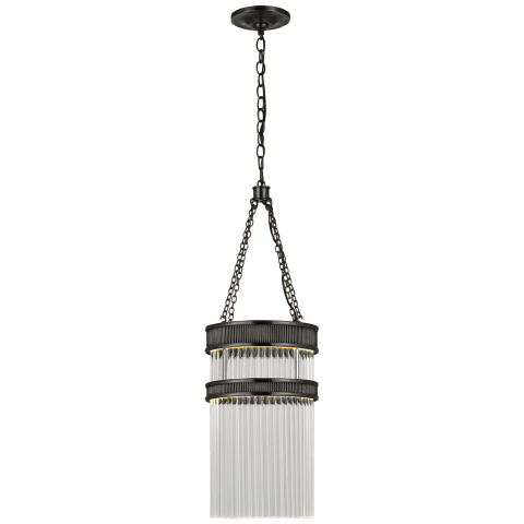 Menil Tall Chandelier in Bronze with Crystal Rods