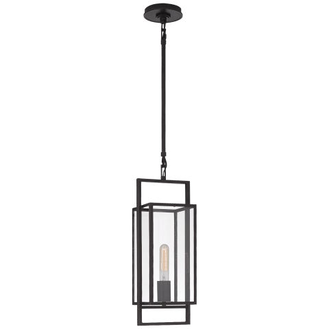 Halle Petite Lantern in Aged Iron with Clear Glass