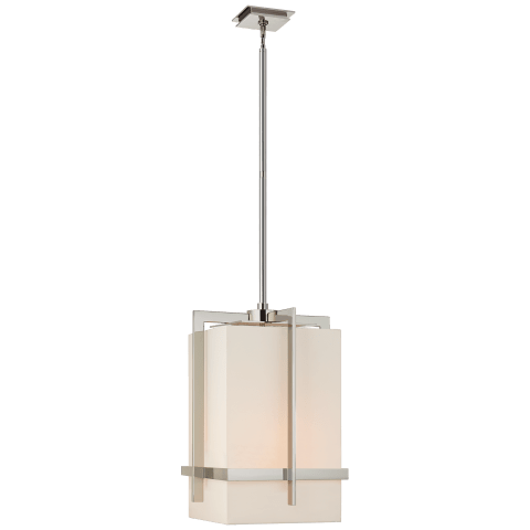 Milo Large Pendant in Polished Nickel with Linen Shade