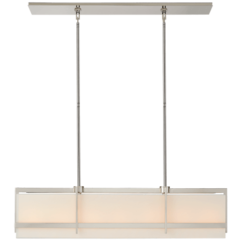 Milo Large Linear Pendant in Polished Nickel with Linen Shade