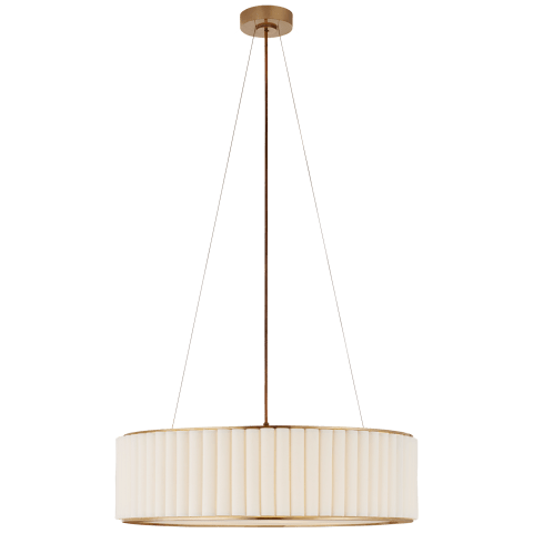 Palati Large Hanging Shade in Hand-Rubbed Antique Brass with Linen Shade