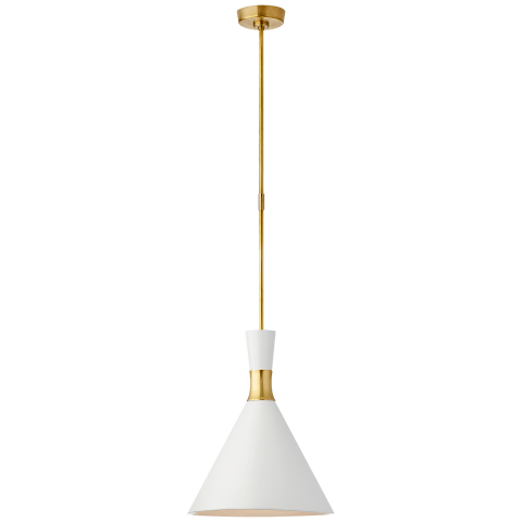 Liam Medium Conical Pendant in Hand-Rubbed Antique Brass with Matte White Shade
