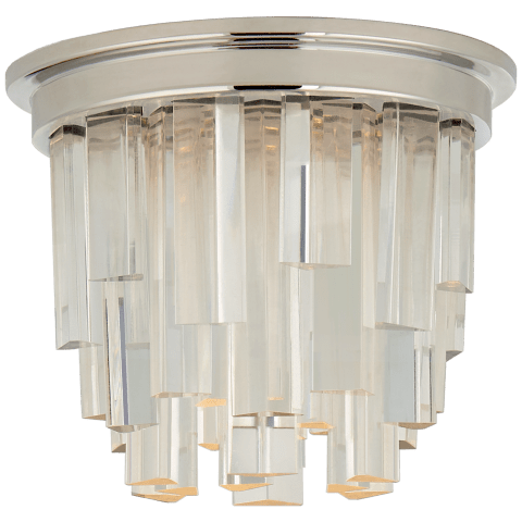 """Breck 5"""" Solitaire Flush Mount in Polished Nickel with Clear Acrylic"""