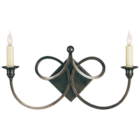 Double Twist Two-Light Sconce in Bronze