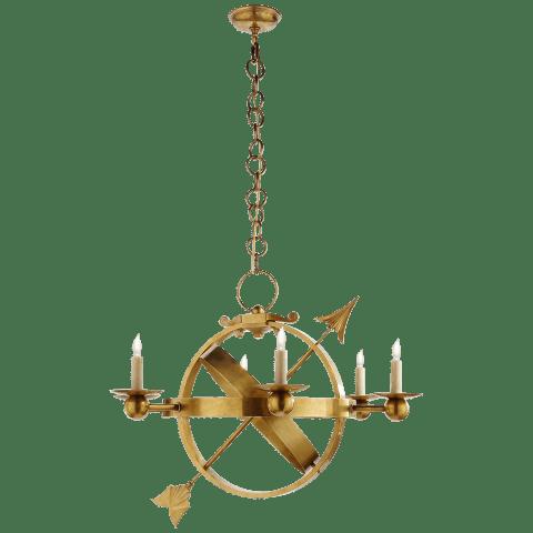 Armillary Sphere Chandelier in Hand-Rubbed Antique Brass