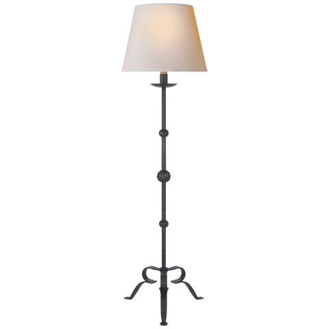 Carey Floor Lamp in Aged Iron with Natural Paper Shade