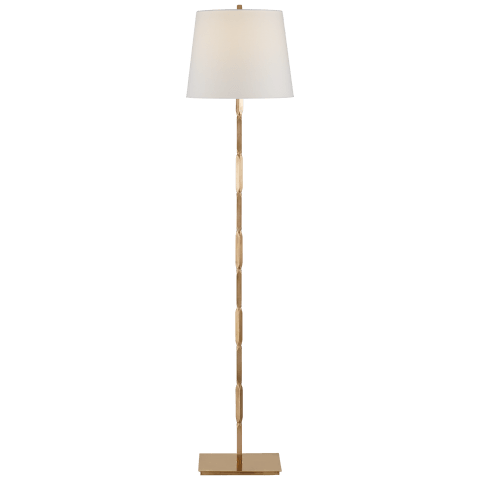Coral Floor Lamp in Hand-Rubbed Antique Brass with Linen Shade