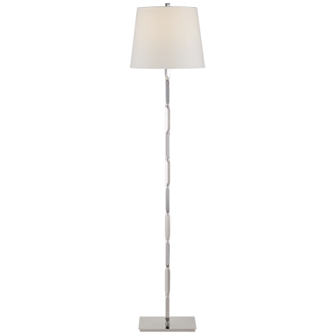 Coral Floor Lamp in Polished Nickel with Linen Shade