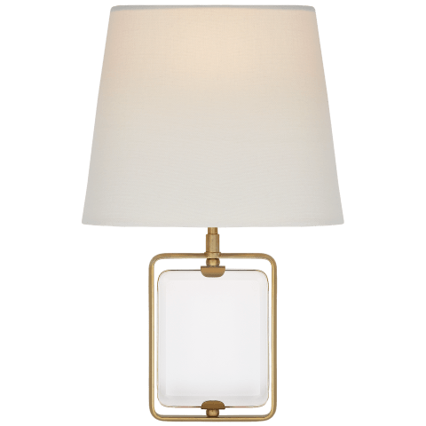 Henri Framed Jewel Sconce in Crystal and Hand-Rubbed Antique Brass with Linen Shade