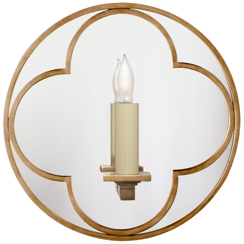 Quatrefoil Round Mirrored Sconce in Polished Nickel