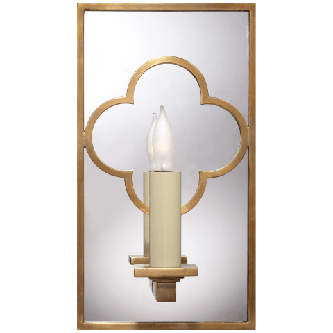 Quatrefoil Rectangle Mirrored Sconce in Hand-Rubbed Antique Brass