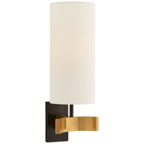 Aimee Single Sconce in Bronze and Hand-Rubbed Antique Brass with Linen Shade