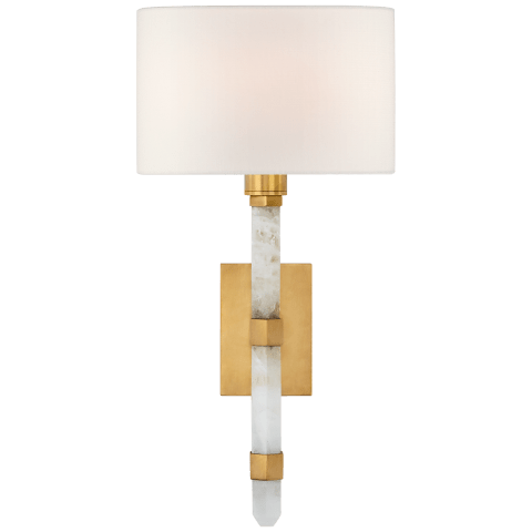 Adaline Small Tail Sconce in Antique-Burnished Brass and Quartz with Linen Shade