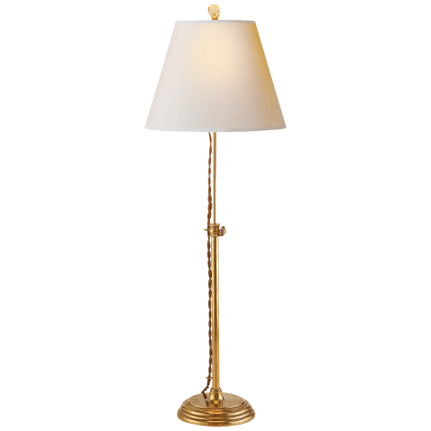 Wyatt Accent Lamp in Hand-Rubbed Antique Brass with Natural Paper Shade
