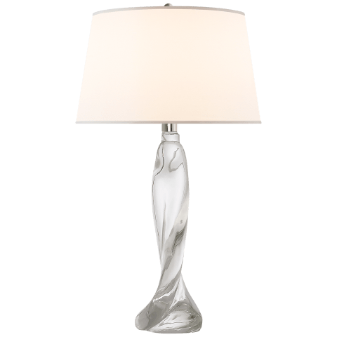 Chloe Tall Table Lamp in Clear Crystal with Silk Shade