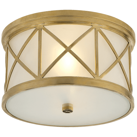 Montpelier Small Flush Mount in Hand-Rubbed Antique Brass with Frosted Glass