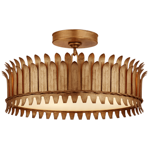 """Leslie 16"""" Semi-Flush in Gilded Iron with Frosted Glass"""