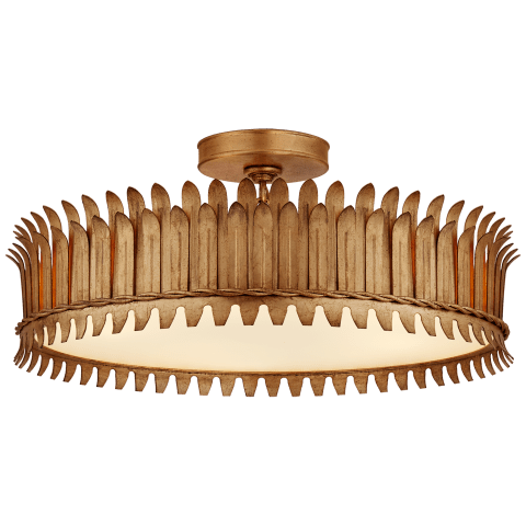 "Leslie 21"" Semi-Flush in Gilded Iron with Frosted Glass"