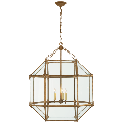 Morris Large Lantern in Gilded Iron with Clear Glass