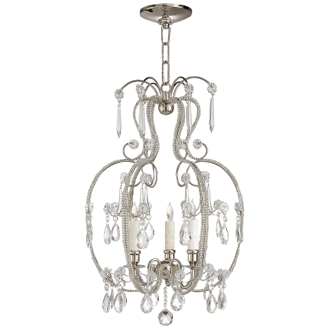 Hurley Chandelier in Polished Nickel with Crystal