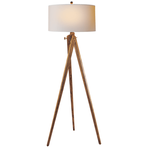 Tripod Floor Lamp in French Wax with Natural Paper Shade
